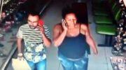 Imagens de segurança flagram casal roubando loja e GM realiza buscas