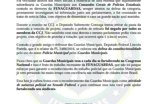 FENAGUARDAS divulga comunicado esclarecendo 'falsa notícia' publicada em redes sociais