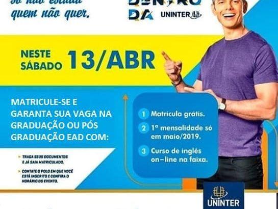 Oportunidade: Matricule-se neste sábado na Uninter e ganhe vantagens