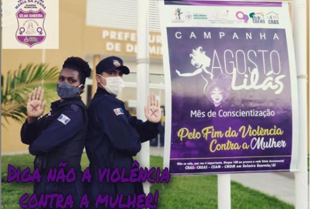 Agosto Lilás: Patrulha Mª da Penha da GM de Delmiro Gouveia reforça campanha pelo fim da violência contra mulher